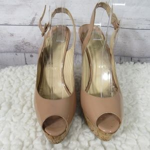 Christian Louboutin Wedge Sandals Womens 9 Nude